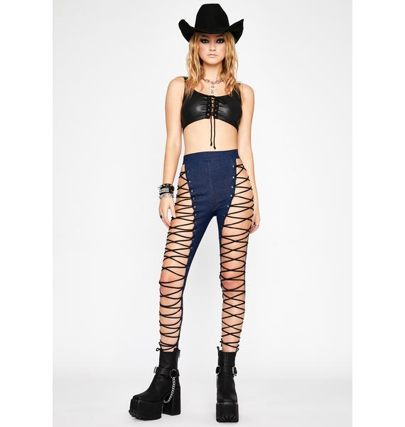 Wild My Way Lace-Up Jeans