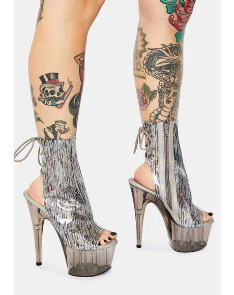 Silver Holographic Adore Platform Heels