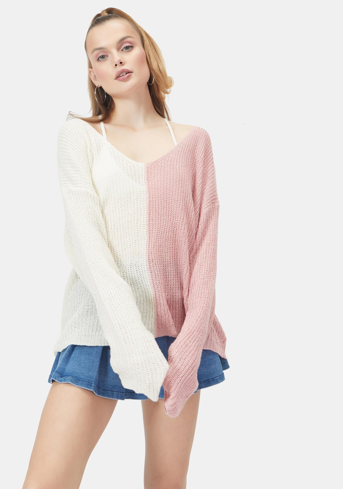 Sorbet What U Waiting For Colorblock Knit Sweater