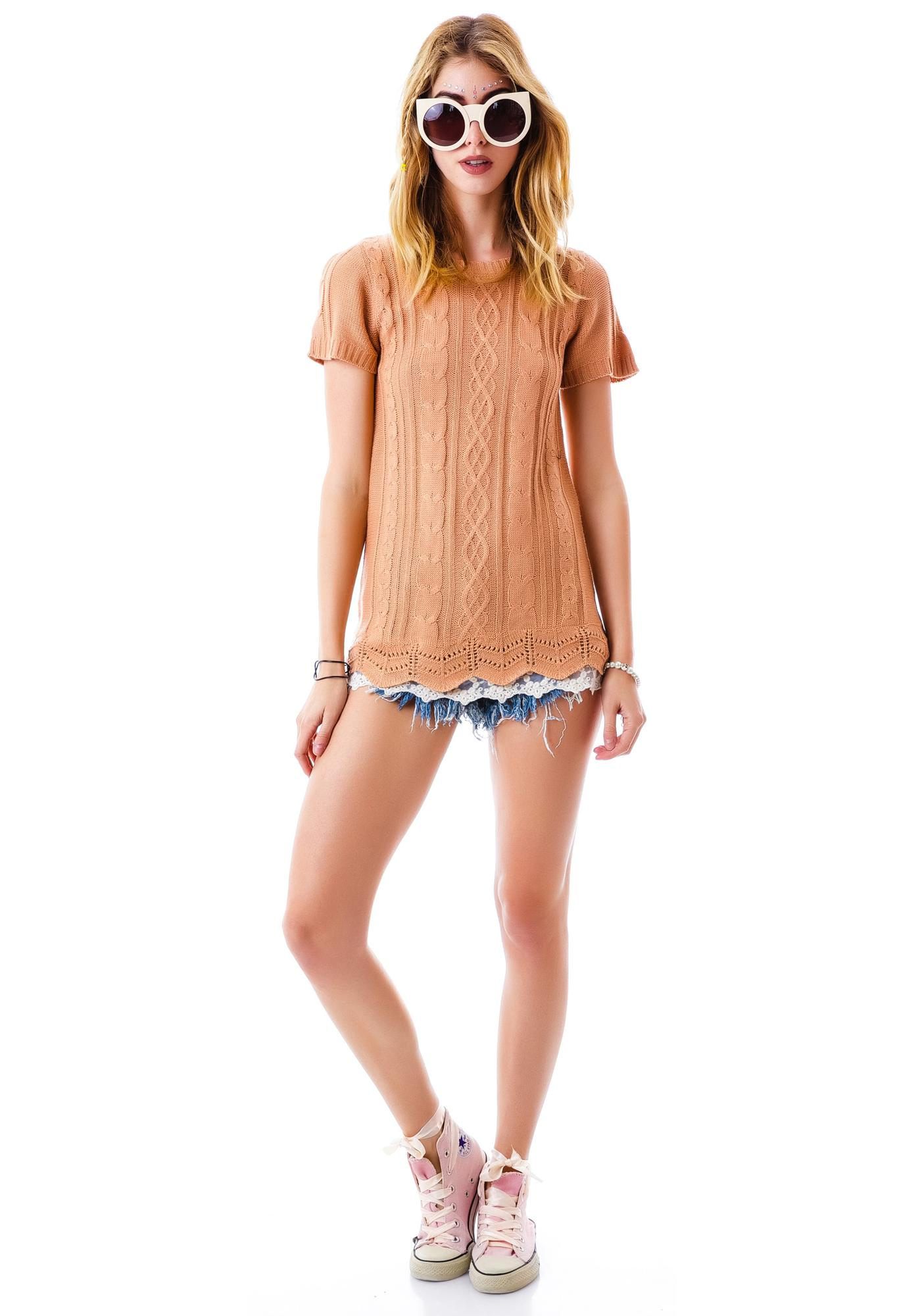 Cable Car Laced Sweater Tunic