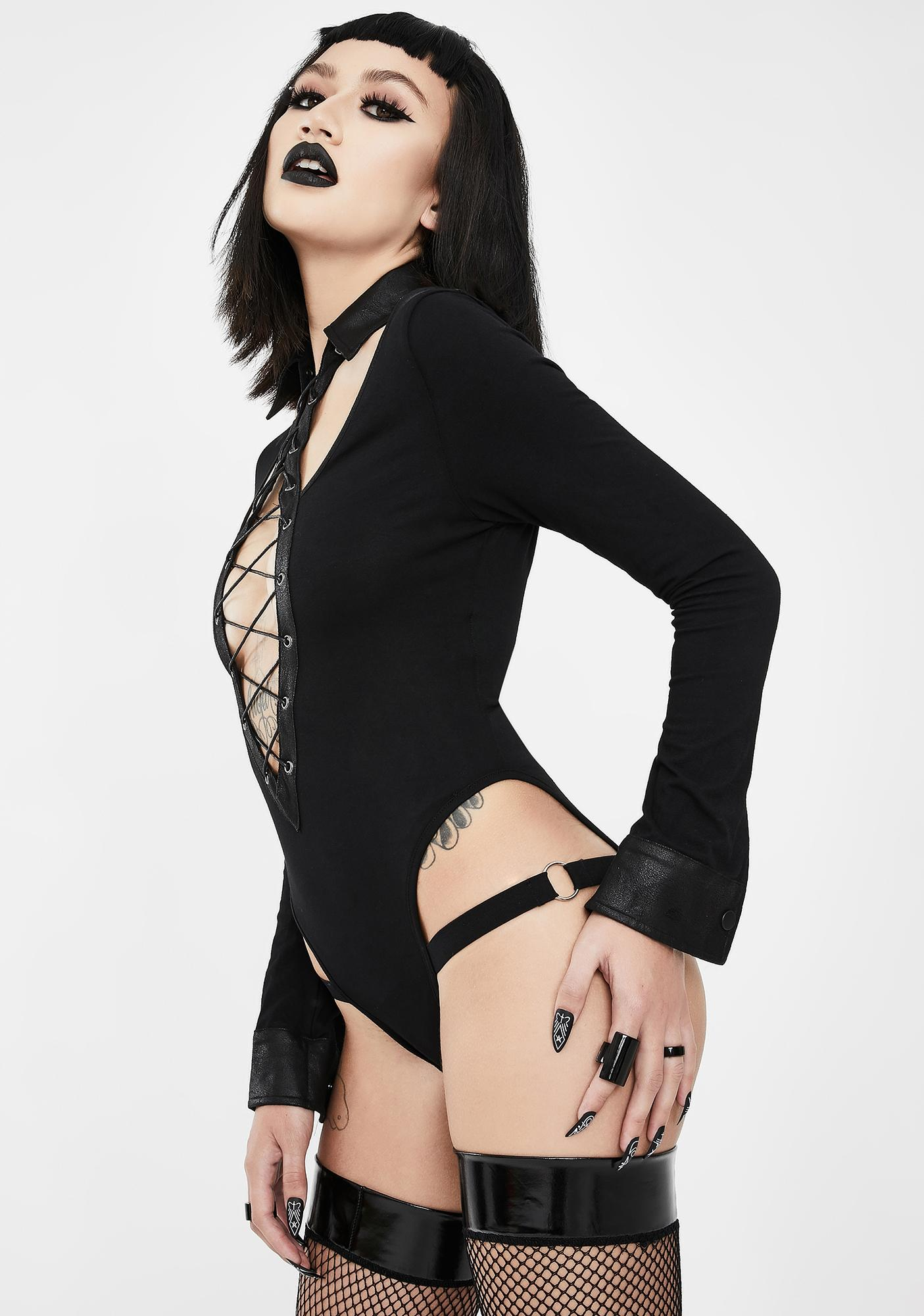 Devil Fashion Lace-Up Collared Bodysuit