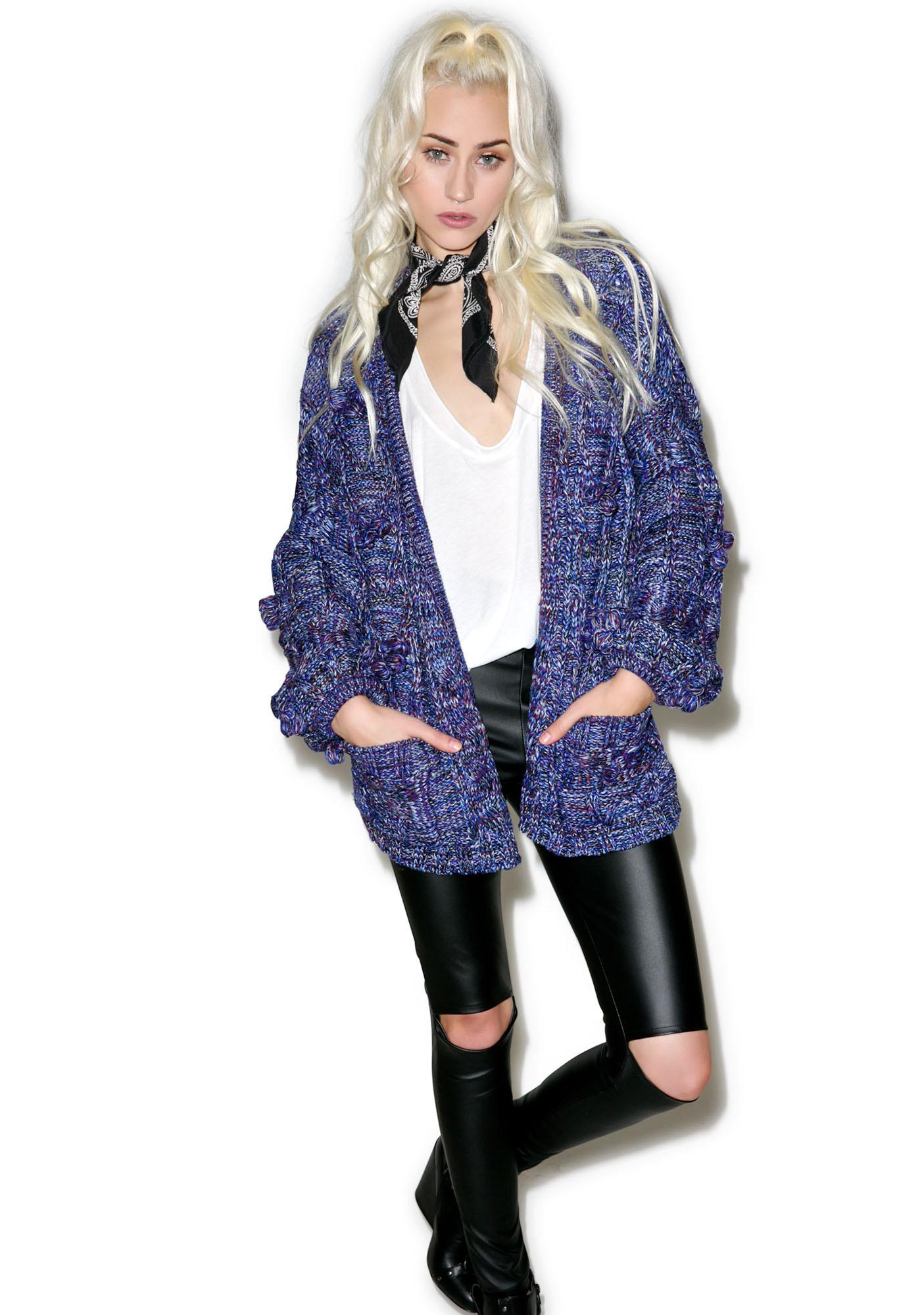 For Love & Lemons Indigo Braided Cable Cardigan