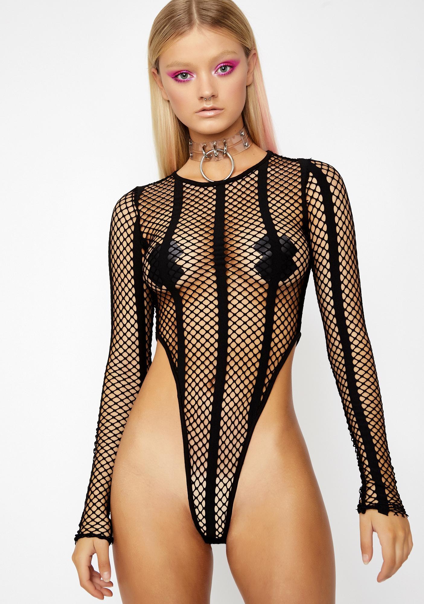 e08c084d1 Fishnet High Cut Long Sleeve Bodysuit