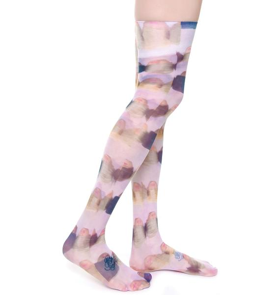 Coveted Society Doll Heads Sheer Knee High Socks