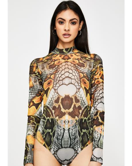 Snake Print High Neck Mesh Bodysuit