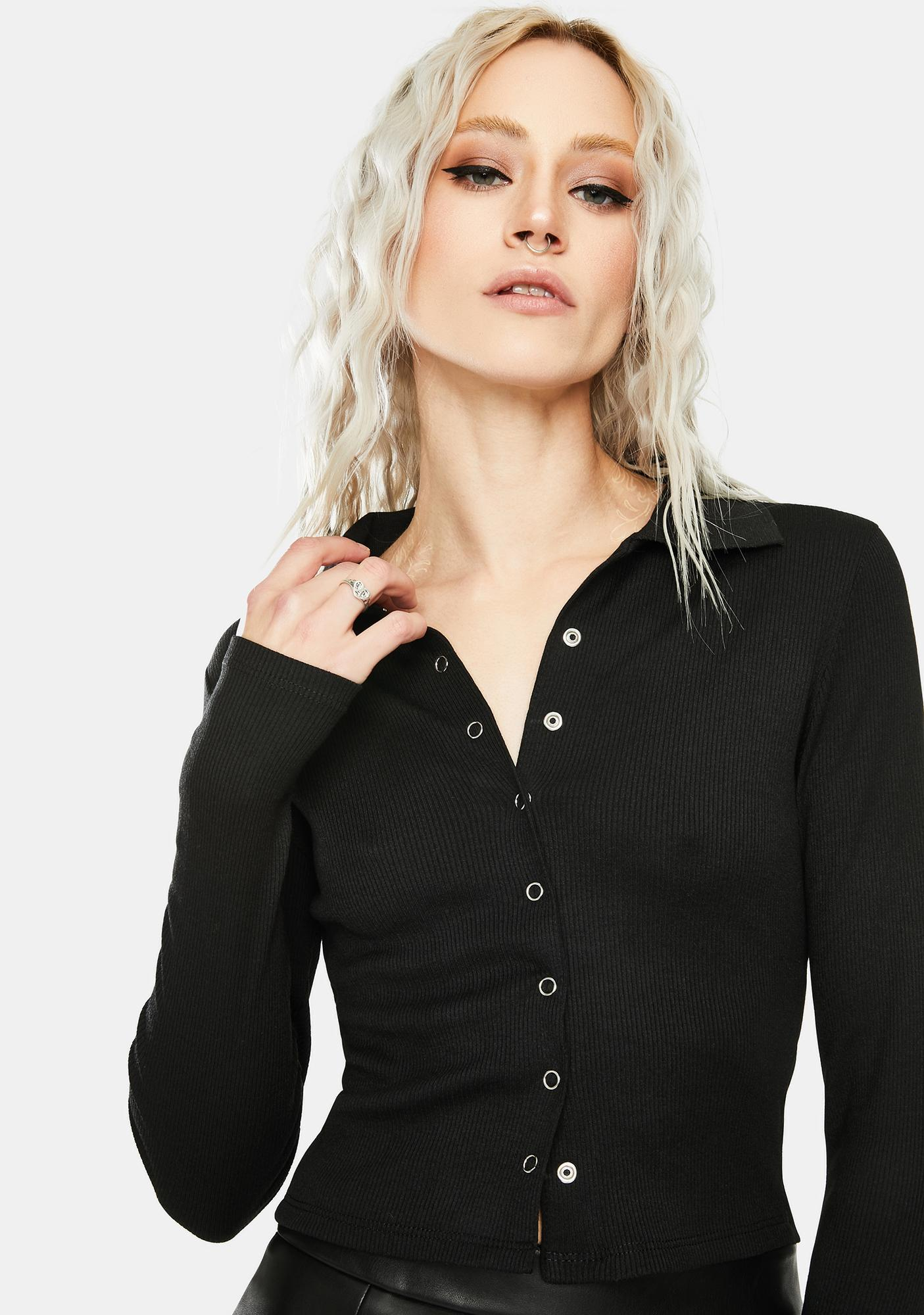 SNDYS. THE LABEL Black Lincoln Long Sleeve Top