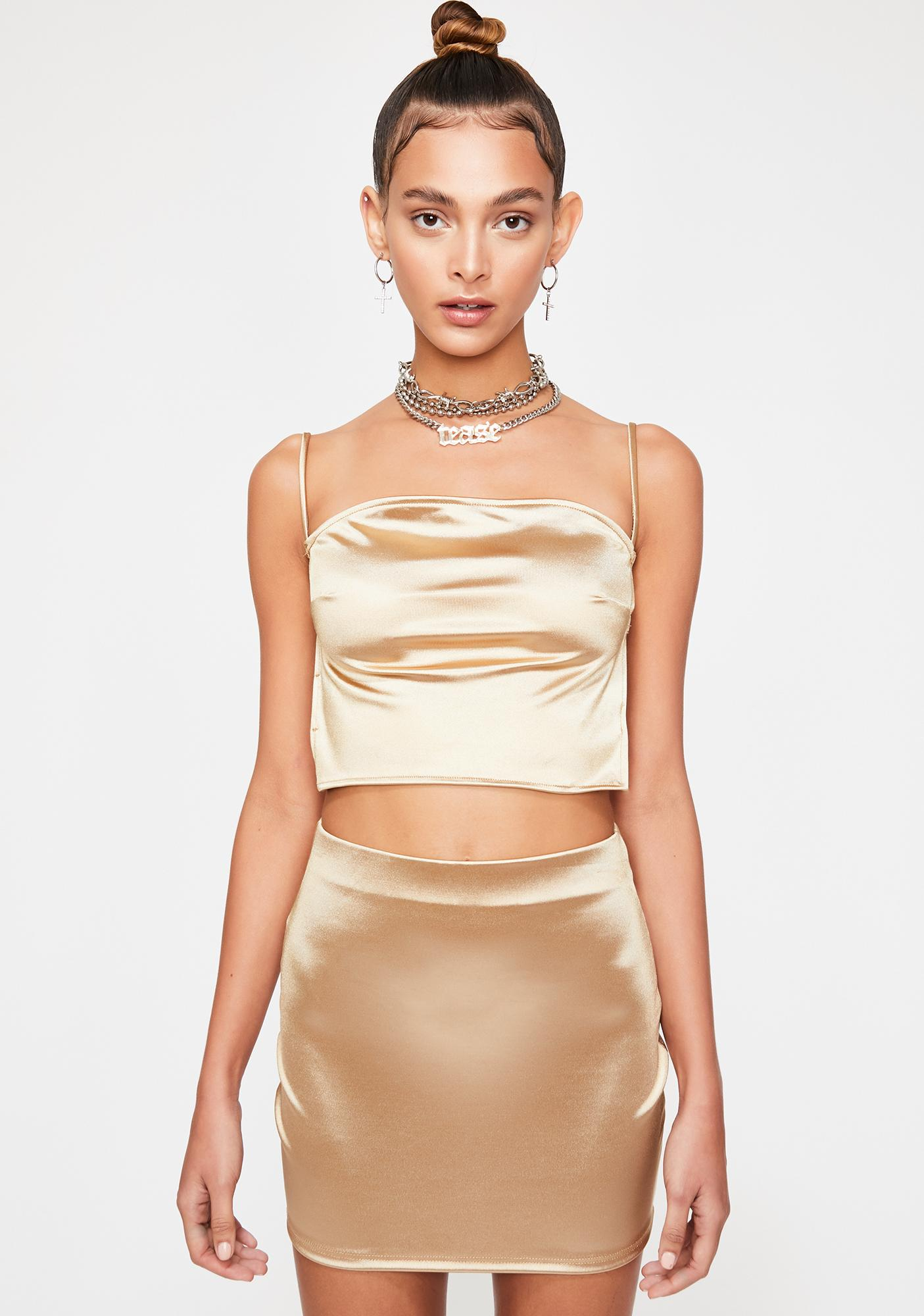 Champagne Flashy Nights Satin Set
