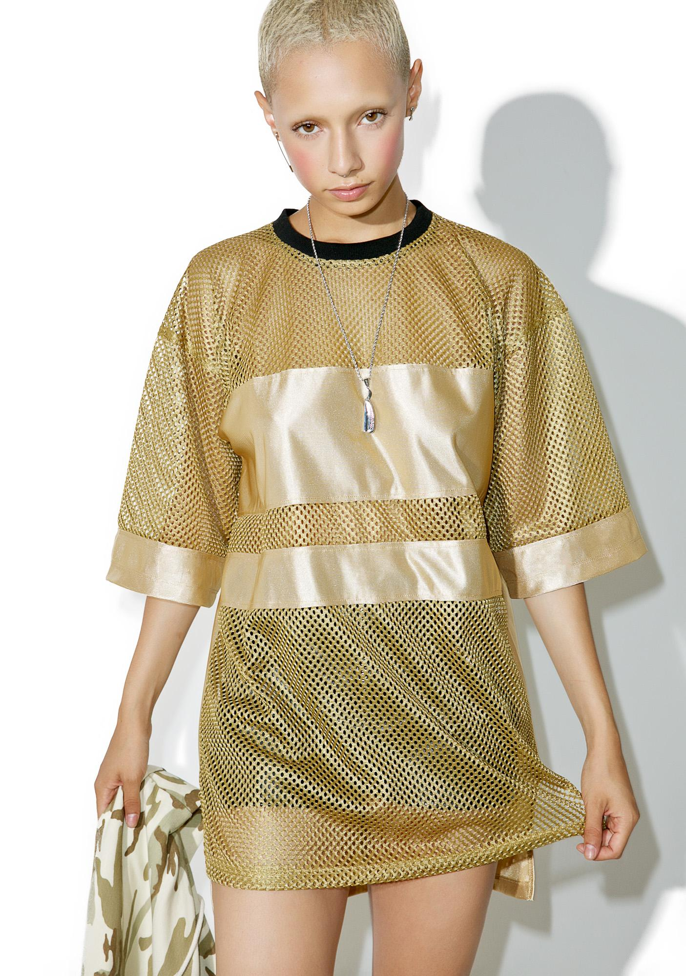 This Is A Love Song Gilded Mesh Jersey Top