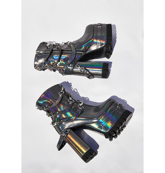 Current Mood Ex Machina Holographic Boots