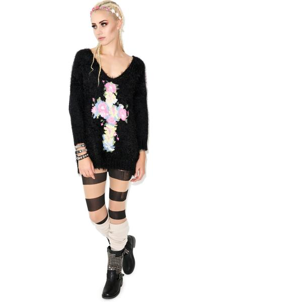 Wildfox Couture Floral Cross V-Neck Sweater