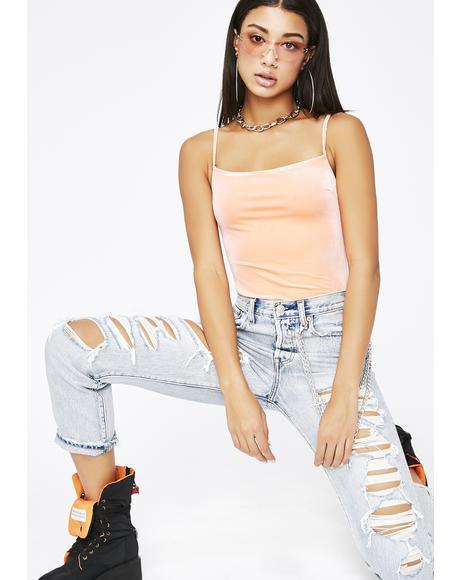Peach Dreamweaver Velvet Bodysuit