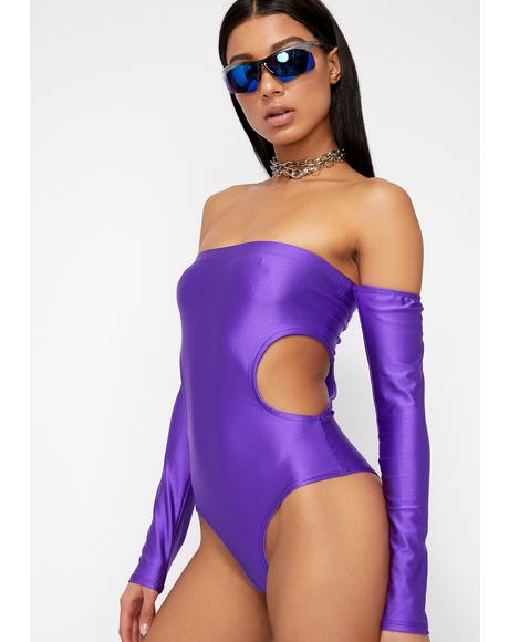 Purp Just A Stranger Cut Out Bodysuit