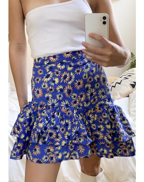 Blue Floral Asymmetrical Skirt