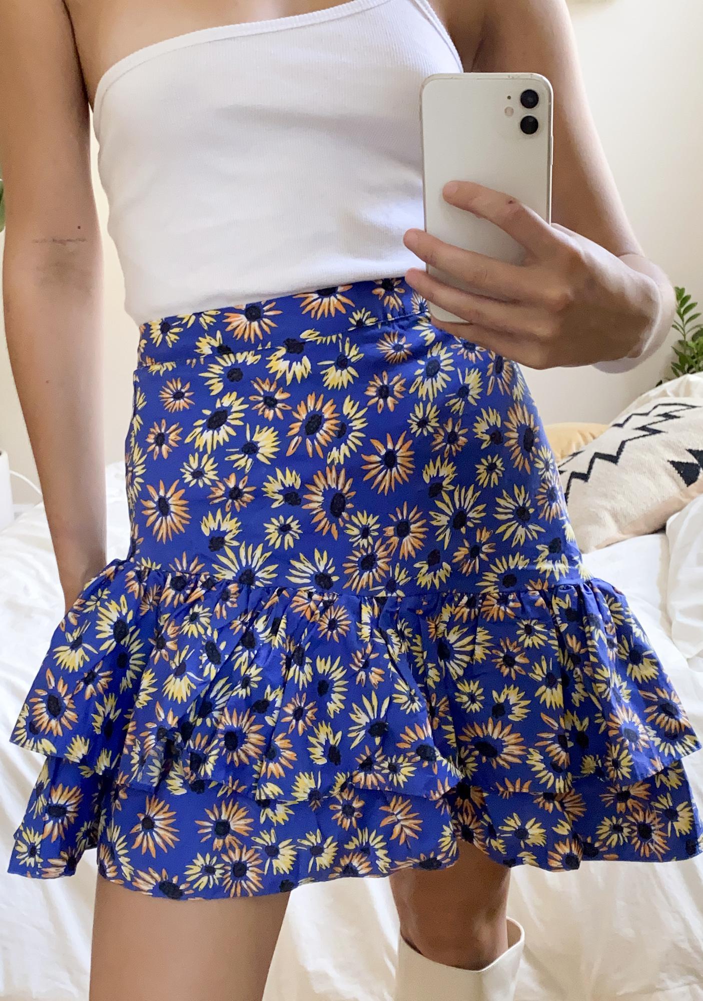 Glamorous Blue Floral Asymmetrical Skirt