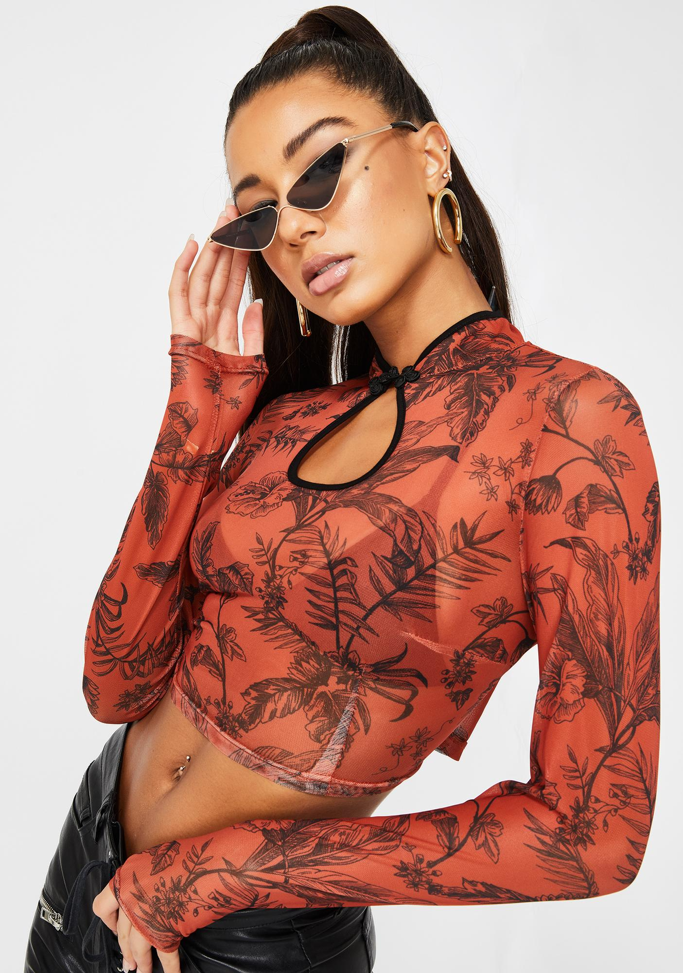 Rust Safari Floral Mesh Top by Glamorous