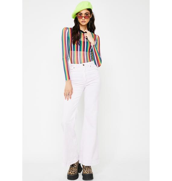 Jawbreaker Vertical Rainbow Stripe Mesh Top