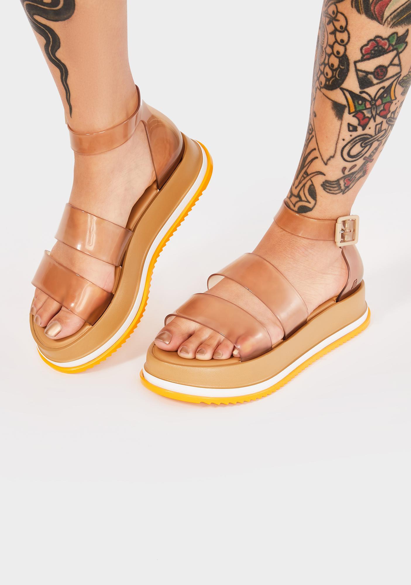 Melissa Beige Model Platform Sandals