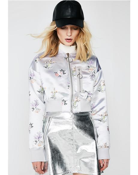 Take It Easy Floral Bomber Jacket