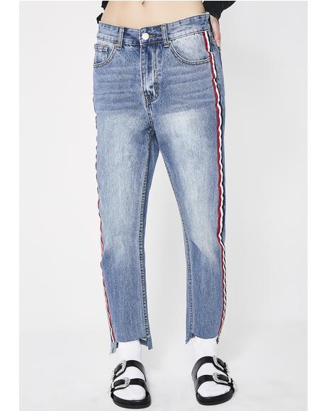 Sport Stripe Boyfriend Jeans