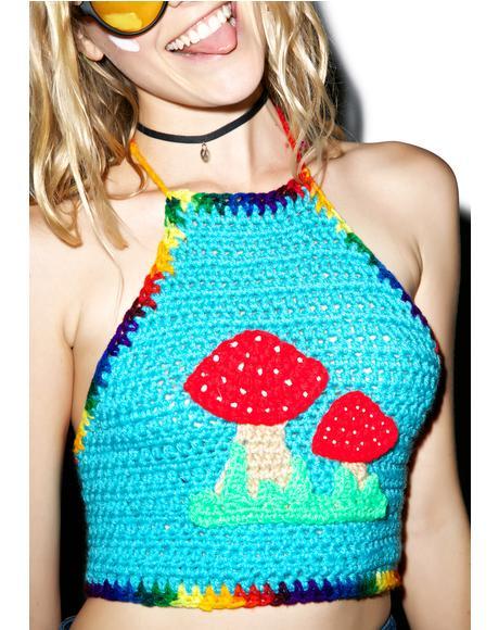 Magic Mushroom Crochet Crop Top