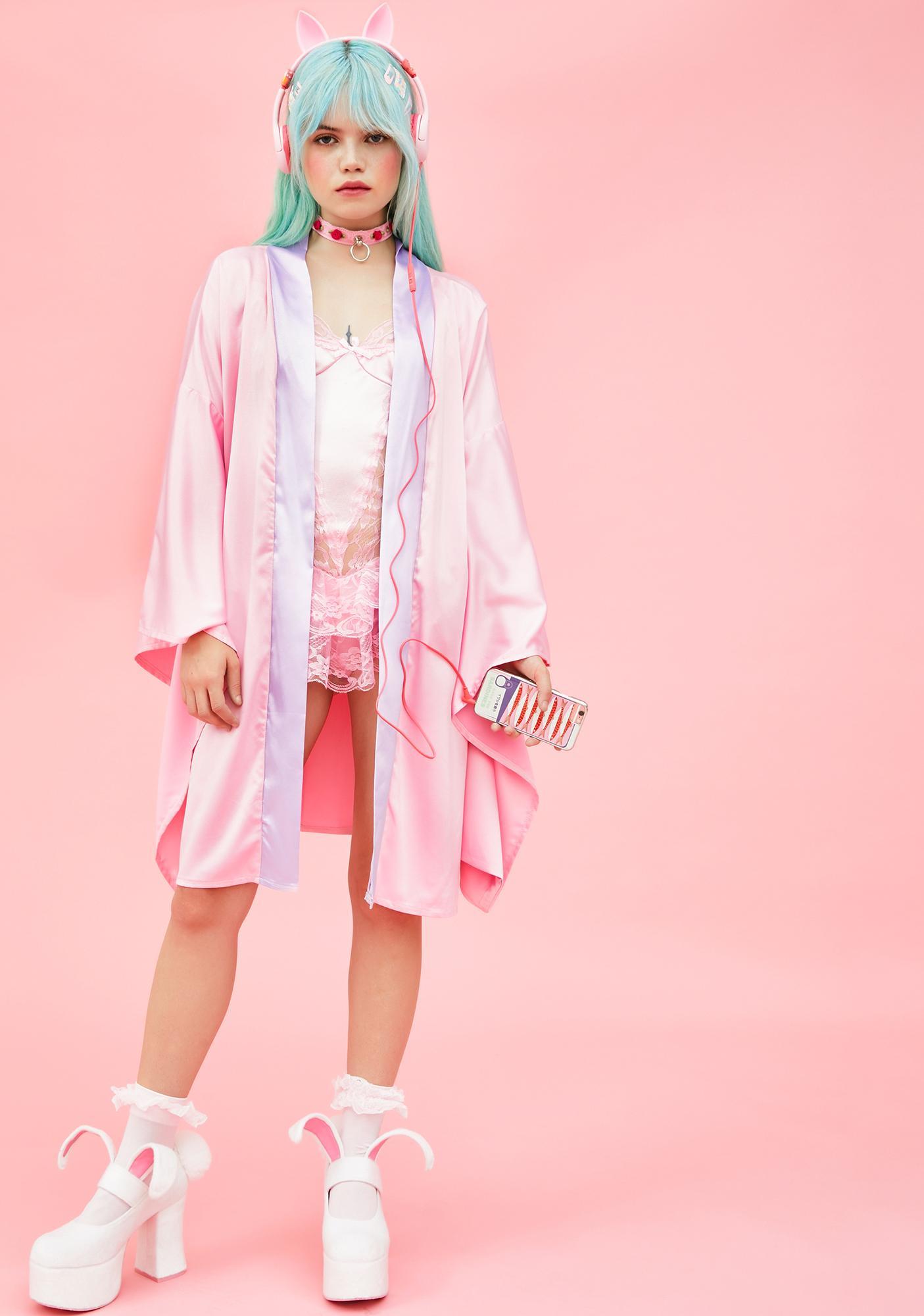 Sugar Thrillz Tasteful Tease Satin Kimono