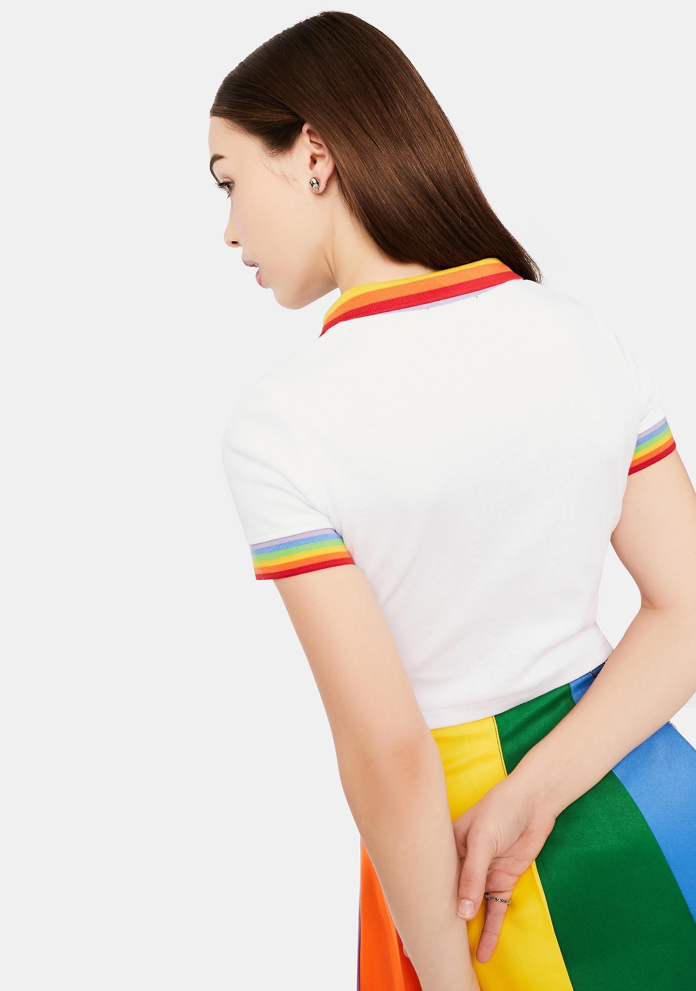 dELiA*s by Dolls Kill All Is Bright Rainbow Stripe Polo Tee