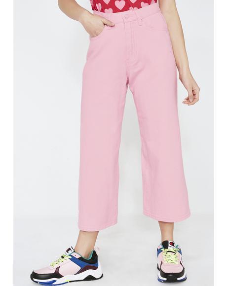 LO Pink Wide Leg Jeans