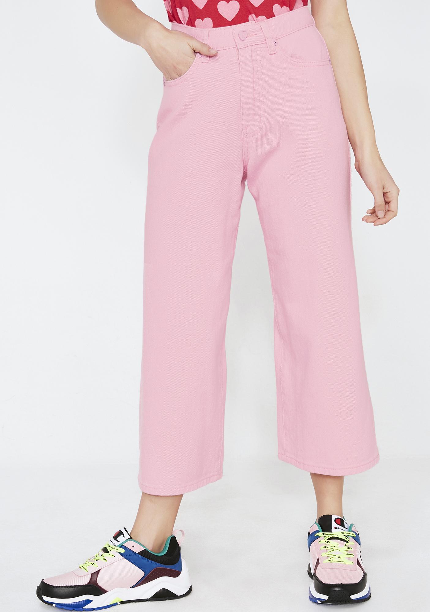 Lazy Oaf LO Pink Wide Leg Jeans