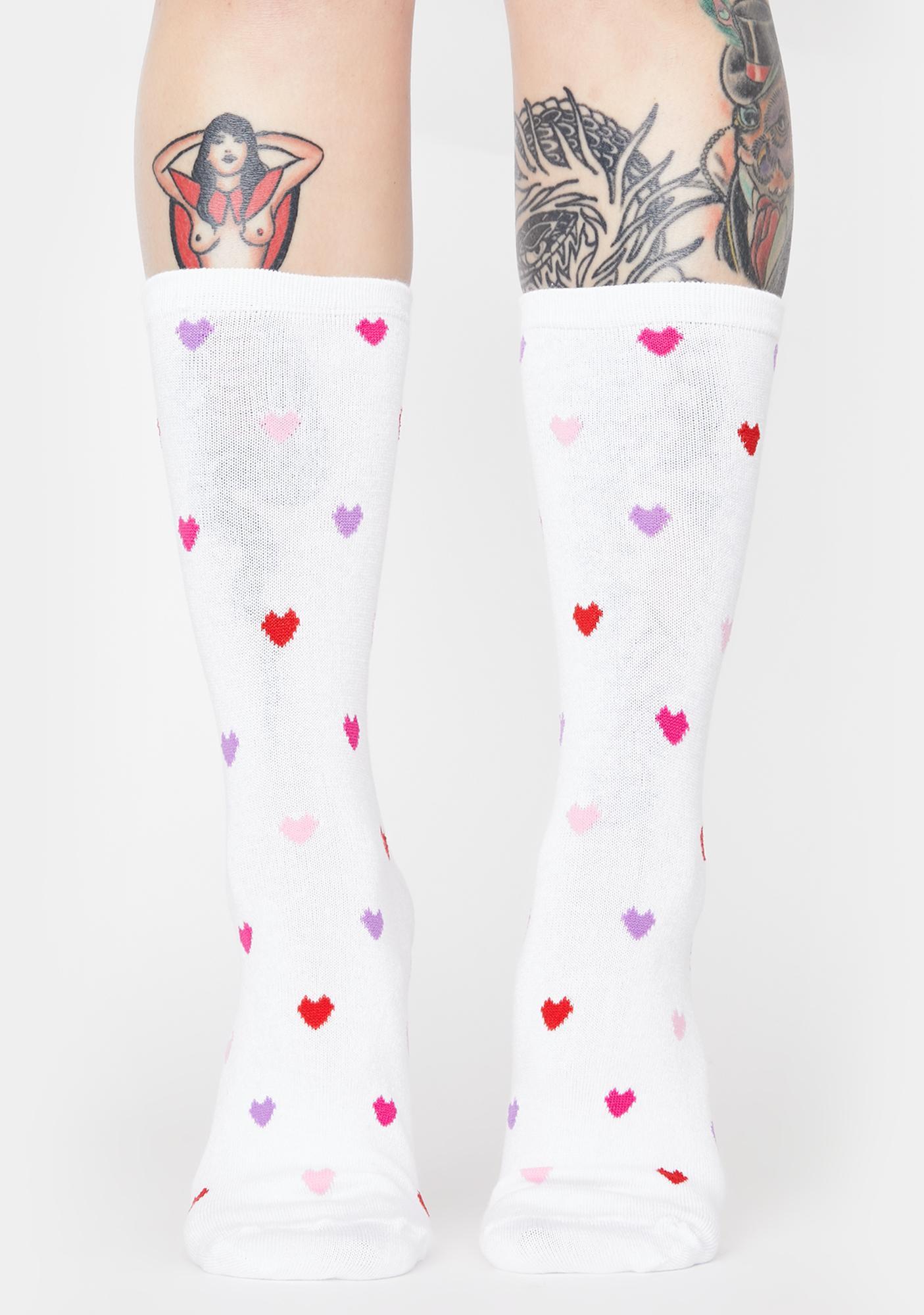 MeMoi White Delicate Hearts Bamboo Crew Socks