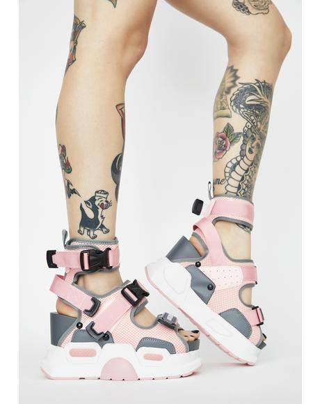 Pink Mulberry Platform Sandals