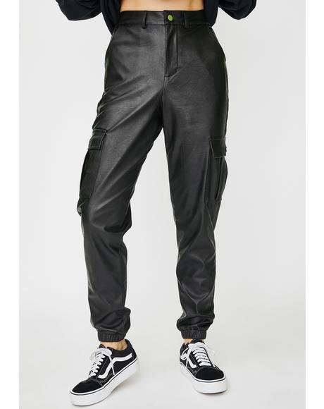 Vegan Leather Cargo Pants