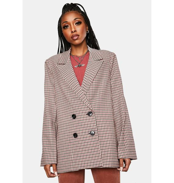 Rollas Downtown Check Double Breasted Blazer