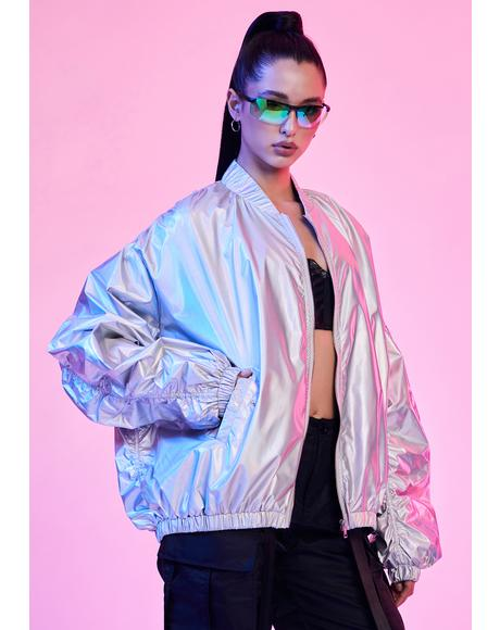 Spaced Out Holographic Bomber Jacket