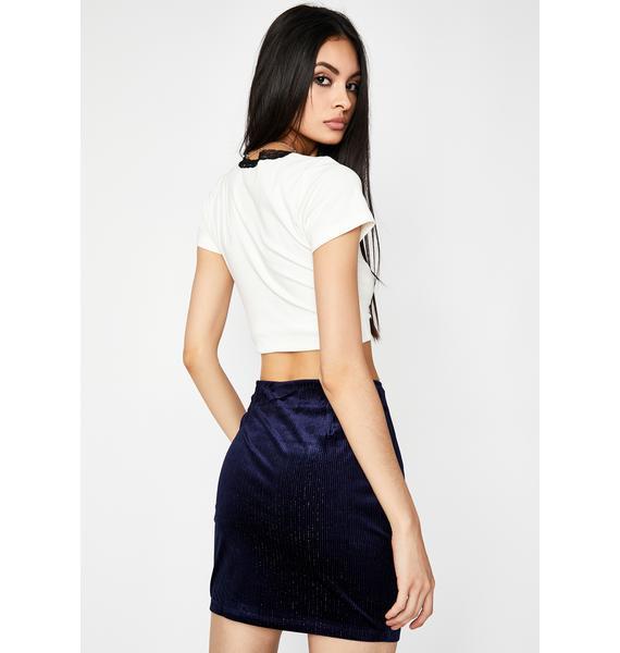 Navy Bish I'm Hawt Velvet Skirt