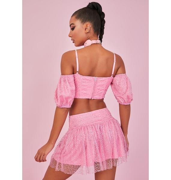 Sugar Thrillz Glamour Check Glitter Mini Skirt