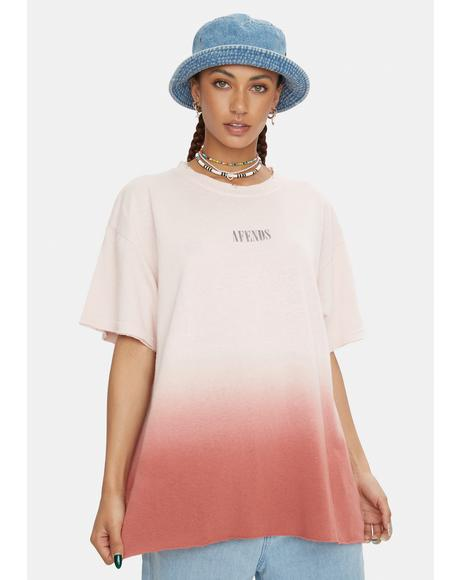Pink Dip Dye Courtney Love Hemp Oversized Tee