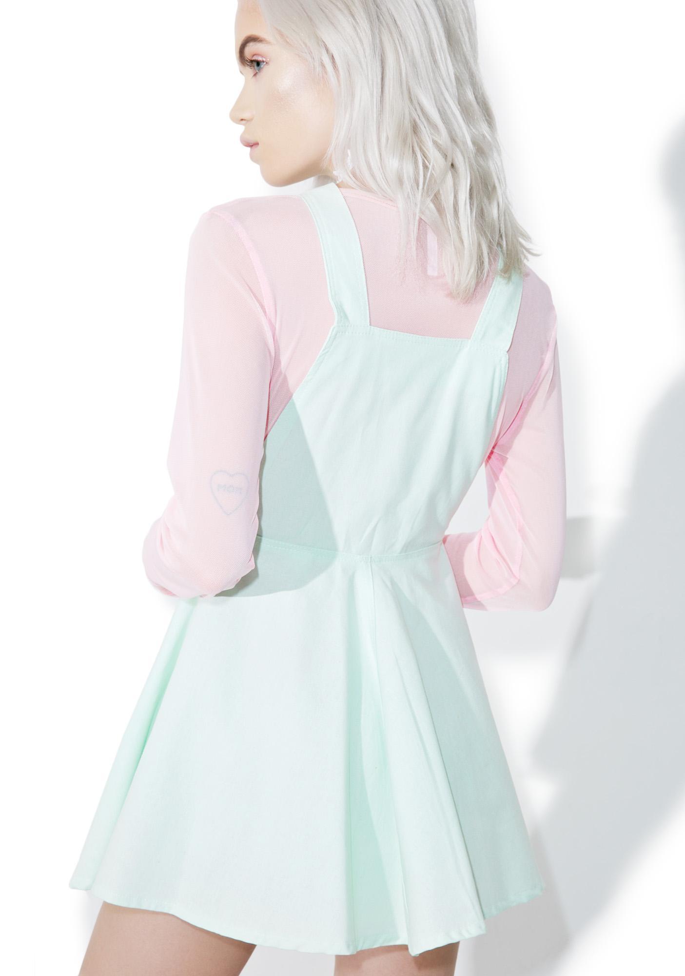 Mint Chip Kitten Overall Dress