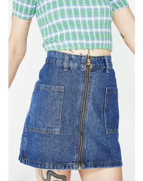 Pocketz Full Denim Skirt