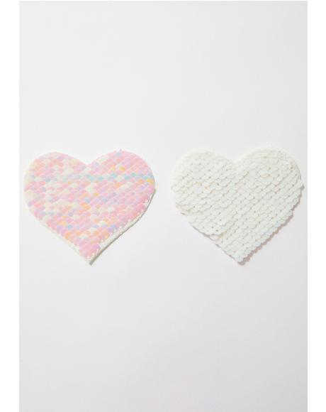 White Sequin Heart Pasties