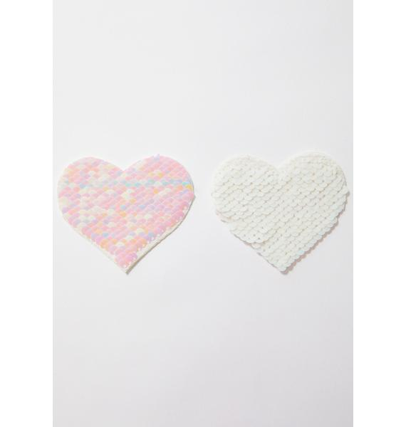 Pastease White Sequin Heart Pasties