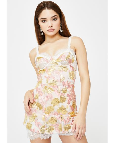 Rose Madame Brocade Cut Out Dress