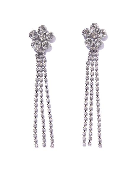 Showin' Off Rhinestone Flower Fringe Earrings