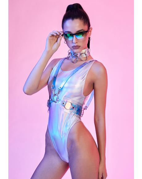 Spaced Out Holographic Bodysuit