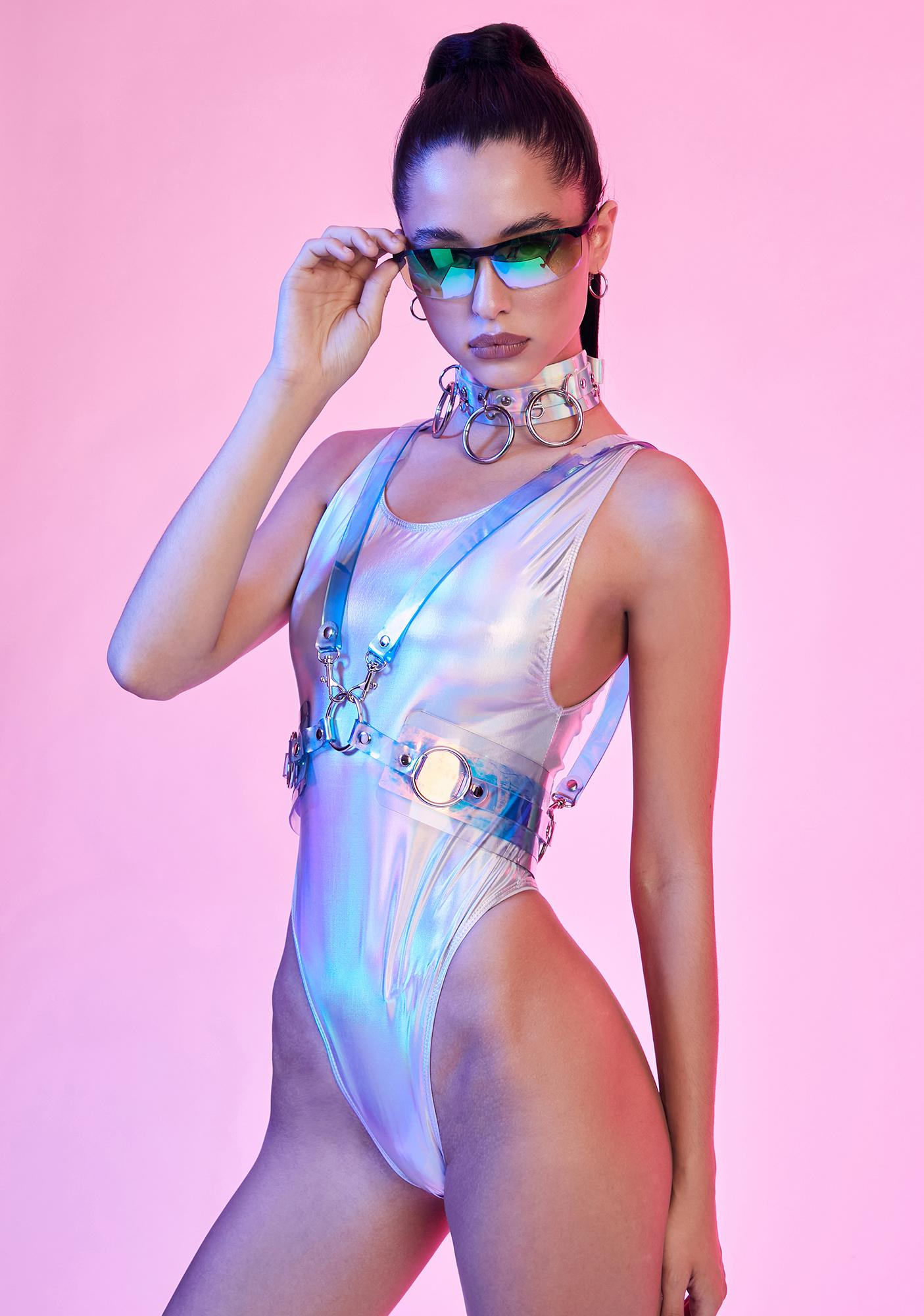 Current Mood Spaced Out Holographic Bodysuit