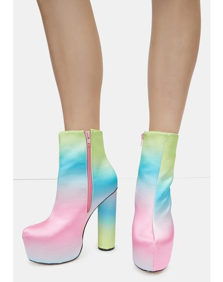 Pink Hafida Platform Boots