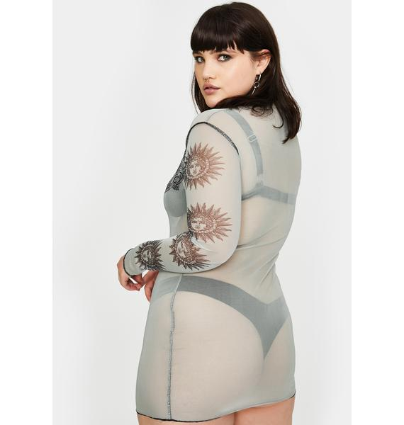 NEW GIRL ORDER Plus Angel Tiger Mesh Mini Dress