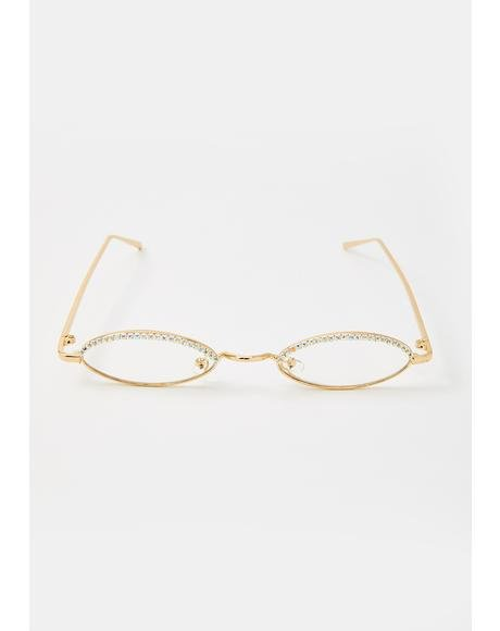 Clearly Crushin It Rhinestone Sunglasses