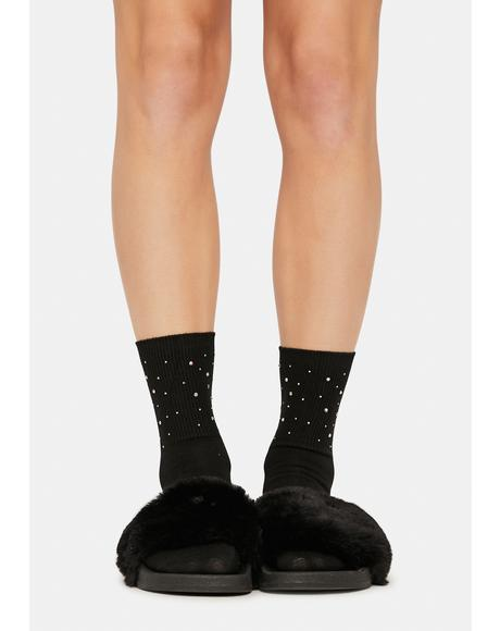 Treasure Me Pearl Studded Crew Socks