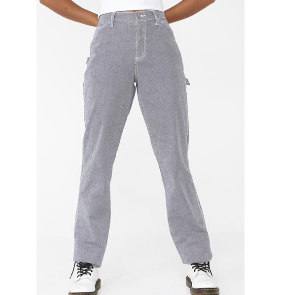 Dickies Girl Hickory Stripe Carpenter Relaxed Fit Pants
