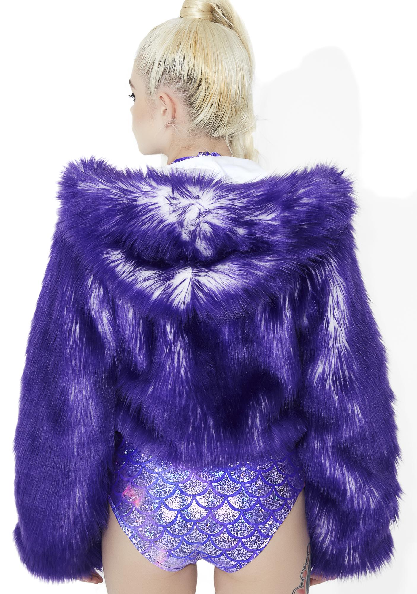 J Valentine Light-Up Faux Fur Cropped Jacket